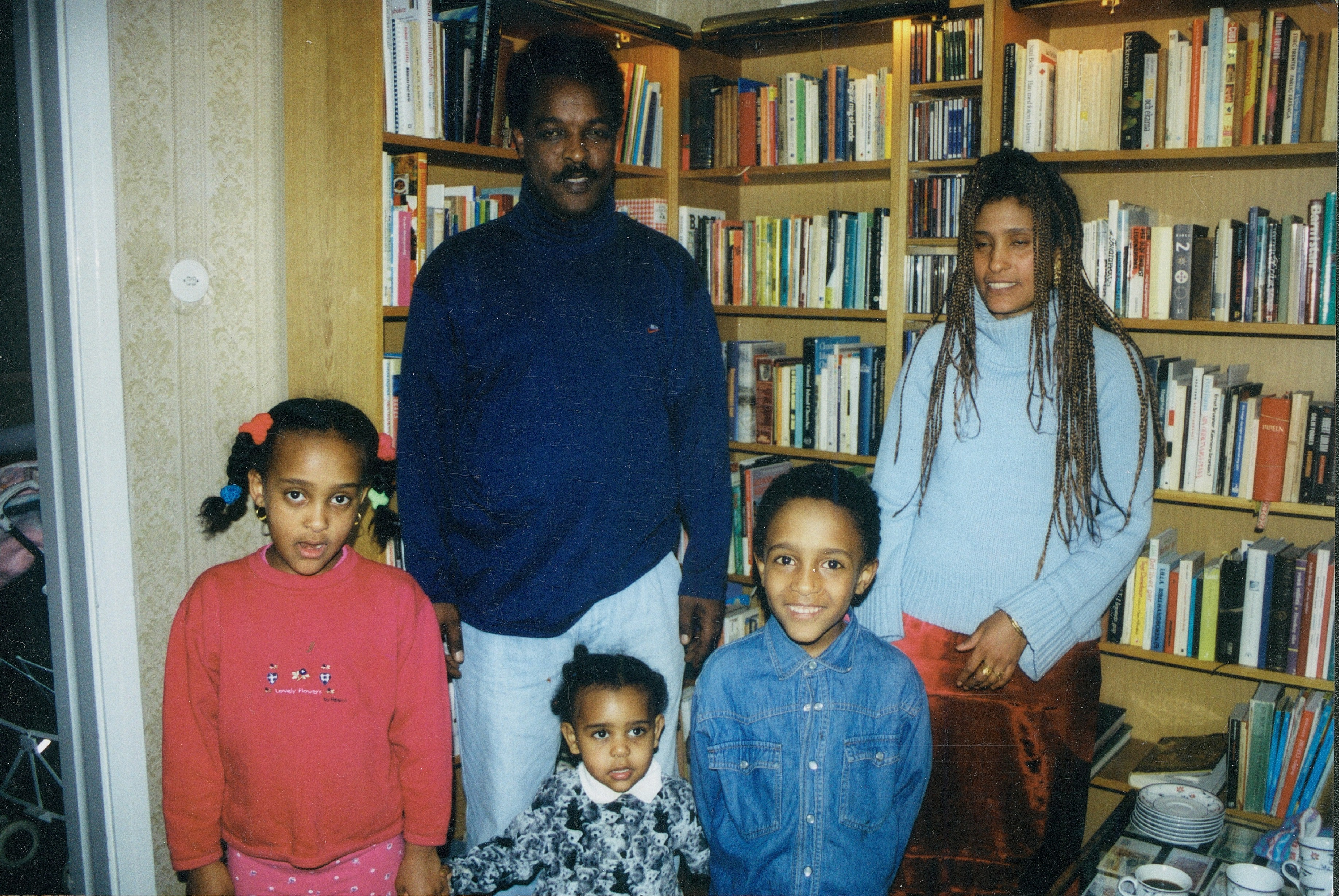 Dawit Isaak with wife Sofia Berhane and children Betlehem, Danait and Yoran. Taken in Gothenburg, Sweden, in 2000. Photo: Milvi Olander.