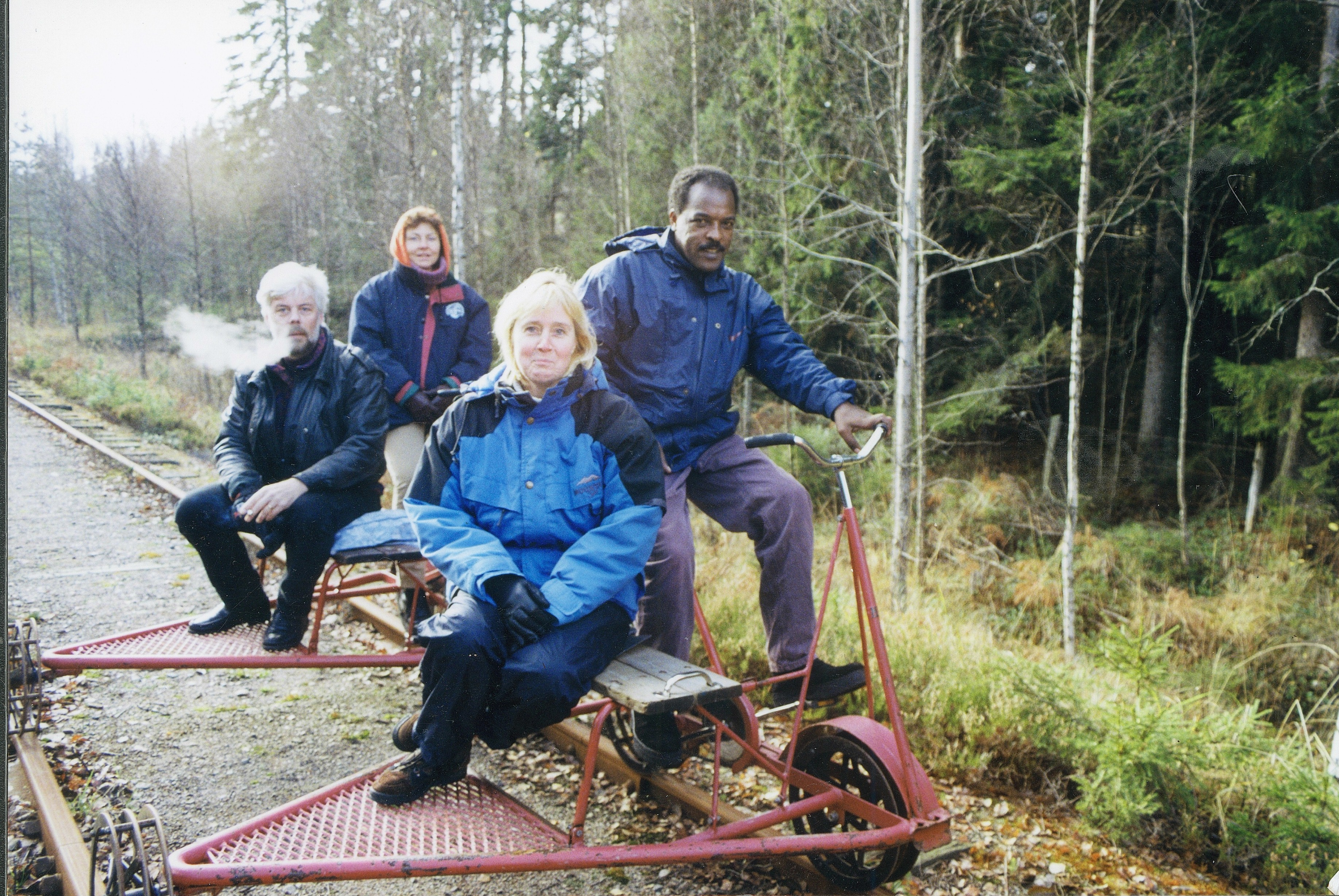 Dawit Isaak on rail-cycle hike with colleagues in Värmland, Sweden,